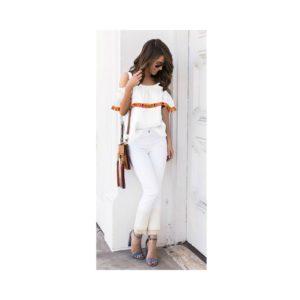 bluzka hiszpanka w kolorze białym